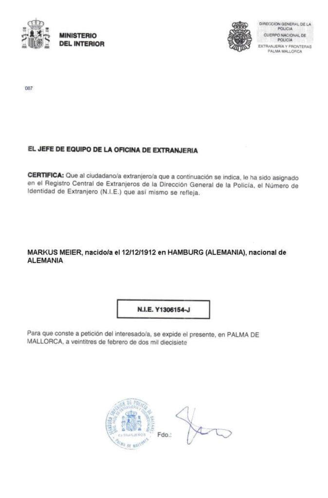 Bürgernummer Spanien für Ausländer NIE